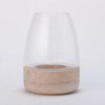 パインウッドとガラスの組み合わせが優しいテラリウムポット
